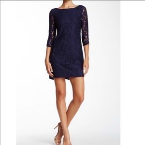Loft Navy Lace Shift Dress